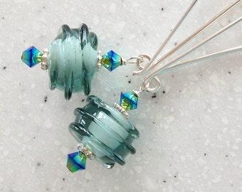 Lampwork Aqua Swirl Beads and Long Sterling Earrings