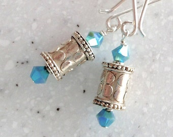 Petite Bali Sterling and Turquoise Crystal Long Earrings