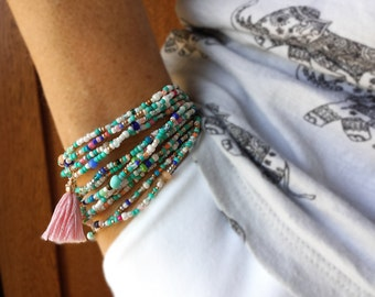 Turquoise and Cream Extra Long Seed Bead Wrap Bracelet  - Tassel Optional