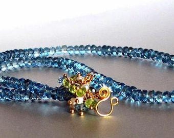 Bridesmaid Necklace, London Blue Topaz Necklace, Winter Bride
