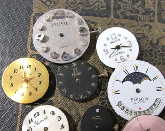 Watch Parts VINTAGE Watch Parts Ten (10) QUARTZ Watch Parts Fendi Face Plates Quartz Watch Parts Steampunk Jewelry Art Supplies (S132)