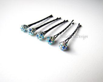 Aqua Blue AB Crystal Bobby Pins, Iridescent Blue 8mm Set, Something Blue Hair Pins