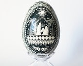 Baby first Easter, goose Pysanka Ukrainian Easter egg,Christian Religious amulet, our Lord Jesus Christ is born