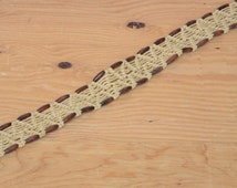 Vintage 70's Macrame Rope Belt In Cream Woven With Brown Wooden Beads Brass Buckle Fringe Detail