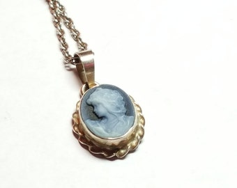 Blue Cameo Necklace Pendant Sterling Silver Vintage Jewelry