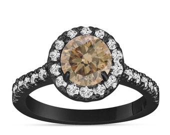 Fancy Champagne Brown Diamond Engagement Ring 14K Black Gold Vintage Style 1.60 Carat Halo Certified Handmade