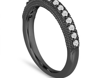 Diamond Wedding Band 0.22 Carat 14K Black Gold Handmade Milgrain Pave