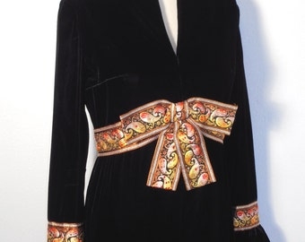 Vintage VELVET 1960's DRESS Holiday Cocktail Metallic BROCADE Ribbon Mod Ruffle