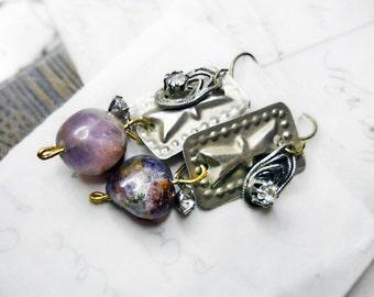25 DOLLAR SALE Assemblage Earrings - Vintage Metal, Rhinestones, Amethyst Beads - Mixed Metal, Vintage Charms - Lavender & Grey