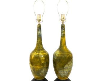 Pair Mid-Century Pottery Lamps Olive Green Yellow Lava Glaze