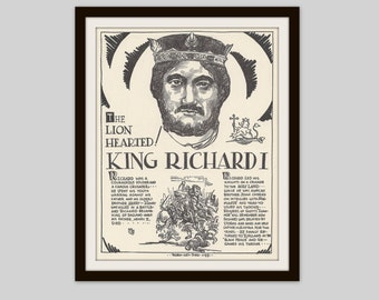 King Richard I, The Lion Hearted, Vintage Art Print, Classroom Art, Teacher Gift, Educational Art, History Lovers Gift, British History
