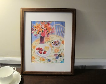 """Print Of Silk Painting """"Sweet Spring"""" 8x10 With 11 x 14 in Mat, Ready to be Framed"""