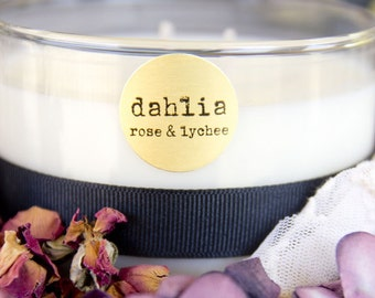 Objects with purpose Dahlia rose & lychee organic wearable candle. Can be worn as solid perfume. Large 11oz. 3 wick