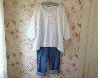 Washed Linen Shirt White Linen Romantic Tunic Sweet Prairie Lagenlook  Ready To Ship One Size
