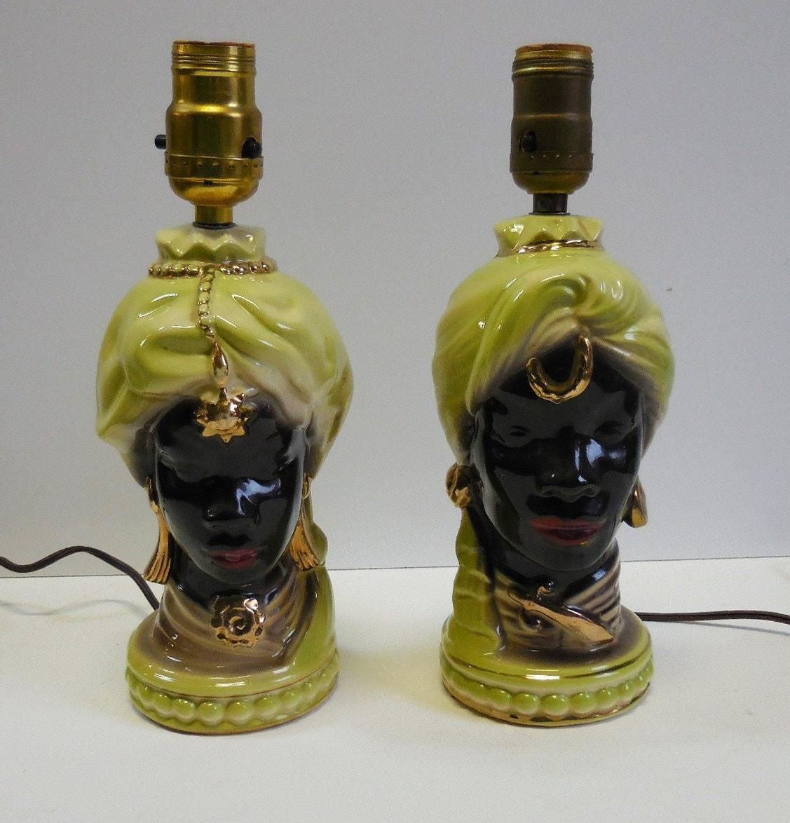 2 Vintage Lamps Figural Head Lights Black African American