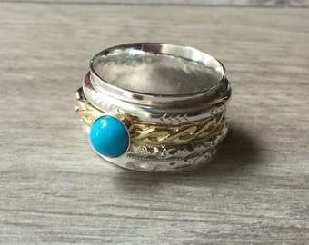 Gold spinner ring Sterling silver spinning ring turquoise spinner ring mixed metal ring anxiety ring fidget ring worry ring rolling ring