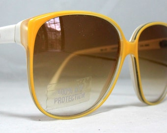 Vintage 80s Large Sunglasses. Yellow and White Lacoste Sunglasses. NOS