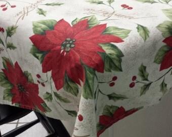 60 X 80 Inch Rectangle Linen Christmas Tablecloth