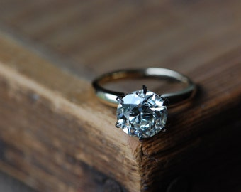 RESERVED // Vintage 2.91 carat diamond solitaire ring ∙ GIA certified big solitaire engagement ring