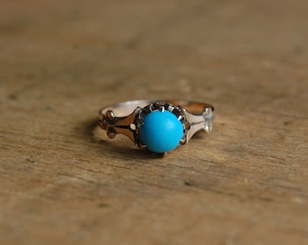 Antique 10K gold turquoise glass ring ∙ 1910s turquoise glass dress ring