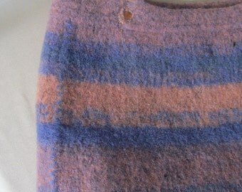 Wool Felt Tote Bag Purple and Peach
