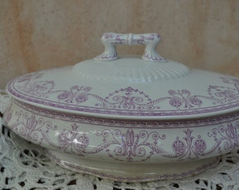 Antique French Transferware Legumier or Vegetable Dish - Ironstone - Rare Colour Purple, Lavender, Rose