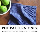 Knitting Pattern - Dishcloth Knitting Pattern - Washcloth Pattern - Knitted Dishcloth Pattern - Navy Blue Dishcloth - the DAWN dishcloth