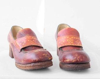 70's leather boho platform loafers size 10/11