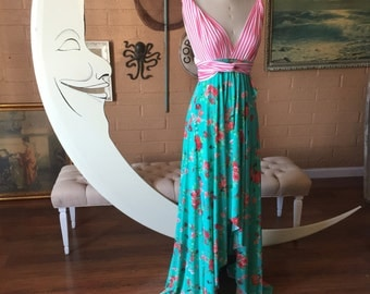 Carnival Stripe with Peach Floral, Tulip Cut Long Octopus Infinity Convertible Wrap Gown~ Custom combine prints.