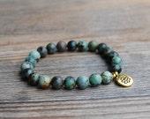 African turquoise bracelet, gemstone bracelet, lotus bracelet, bracelet stack, stackable yoga bracelet, mala bracelet, healing bracelet