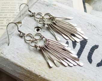 Beams of Light,Sterling Silver 925 Hammered Wire Tassel Fringe Silver Boho Earrings by Hollywood Hillbilly