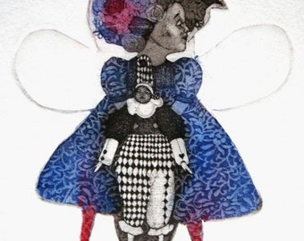 Etching / limited edition original etching (printmaking / graphic art) / original print / original art / girl etching - 'Girl and Harlequin'