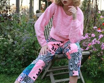 Vintage 90s boho funky print pink cotton cropped pants