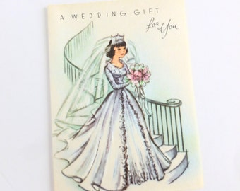 Wedding Gift Card Enclosure Lot of 10 Unused Cards with Mid Century Bride