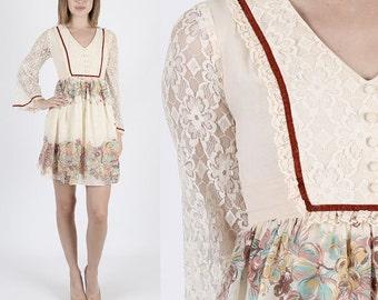Boho Wedding Dress 70s Dress Hippie Dresss Boho Dress Lace Dress Summer Dress Floral Hippie Sheer Lace Angel Bell Sleeve Mini S