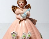 Josef Original Birthday Girl Angel Age 14 Brunette with Peach Dress and Parasol Home and Garden Home Decor Collectibles Figurines