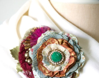 Unique Gift for Her, Colorful Fabric Flower Pin, Shawl Pin, Dress Pin, Wedding Sash Pin, Textile Brooch, Gift for Women, Corsage