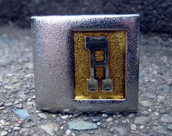 Vintage Lee NY USA Initial R two tone Gold and Silver Finish Belt Buckle