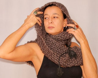 Charcoal Cowl Hooded Scarf, Knit Hooded Scarf, Gray Hood Cowl, Hooded Shawl, Soft Wool Hood Scarf, Leather Pom Pom, Warm Winter Accessories
