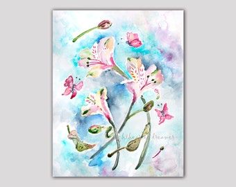 Colorful, Bedroom Wall Art, Bedroom Print, Iris Print of Watercolor Painting, Butterfly Painting, Flower Painting, Office Decor, floral art