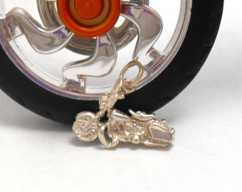 Motorcycle Chopper Harley Rider Sterling Silver Pendant