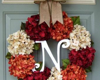 Fall Wreath - Fall Hydrangea Wreath - Fall Hydrangea Door Wreath - Fall Monogram Wreath