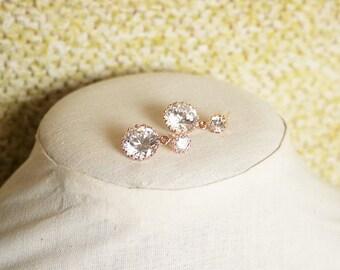 Handmade Rose Gold Earrings Rose Gold Round Earrings Rose Gold CZ Earrings Cubic Zirconia Earrings Crystal Earrings Rose Gold Bridesmaids