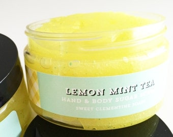Sugar Scrub, Body Scrub, Hand Scrub, Foot Scrub, Lemon Mint Tea Sugar Scrub