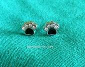 Adorable Rhinestone Sparkle Paw Print Post Stud Earrings - Surgical Steel Post Stud Earrings USA