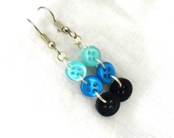 Button Earrings Dangle EarringsSurgical Steel Earrings Shades of Blue Earrings