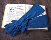 Vintage 1950's Gloves // 50s 60s Long Royal Blue Gloves with Ruched Wrists // Evening Party Gloves