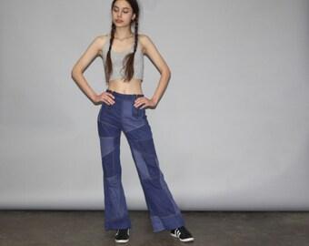 Vintage 70s Patchwork Denim Jean Flare Bell Bottom Jeans  - Vintage 1970s Bell Bottoms Jeans -  Vintage Bellbottoms  - WB0380