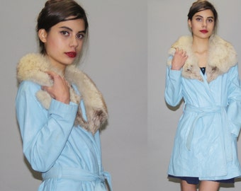 Vintage 1960s Pastel Blue Leather and Rabbit Fur Oversize Collar Coat - Vintage 60s Fur Coats - Leather Princess Coat - WO0641