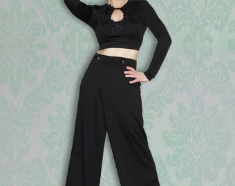 Retro Pin Up Stretch High Waist Wide Leg Tailored Trousers with Buttons and Pin Seam